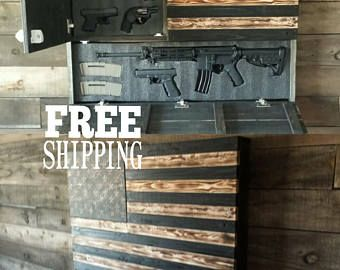 Large Burnt American Red White and Blue Concealed Weapon Flag Cabinet – gatorguy0022