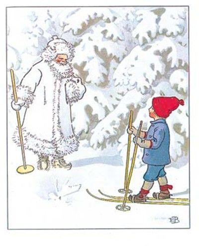Elsa Beskow illustration, Swedish winter