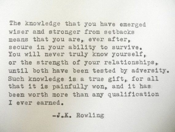 J K ROWLING quote Literary quote strength wisdom quote typewriter quote on Etsy, £7.30