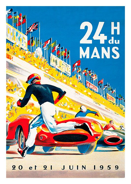 Car Races Vintage Poster, available at 45x32cm. This poster is printed on matt coated 350 gram paper.
