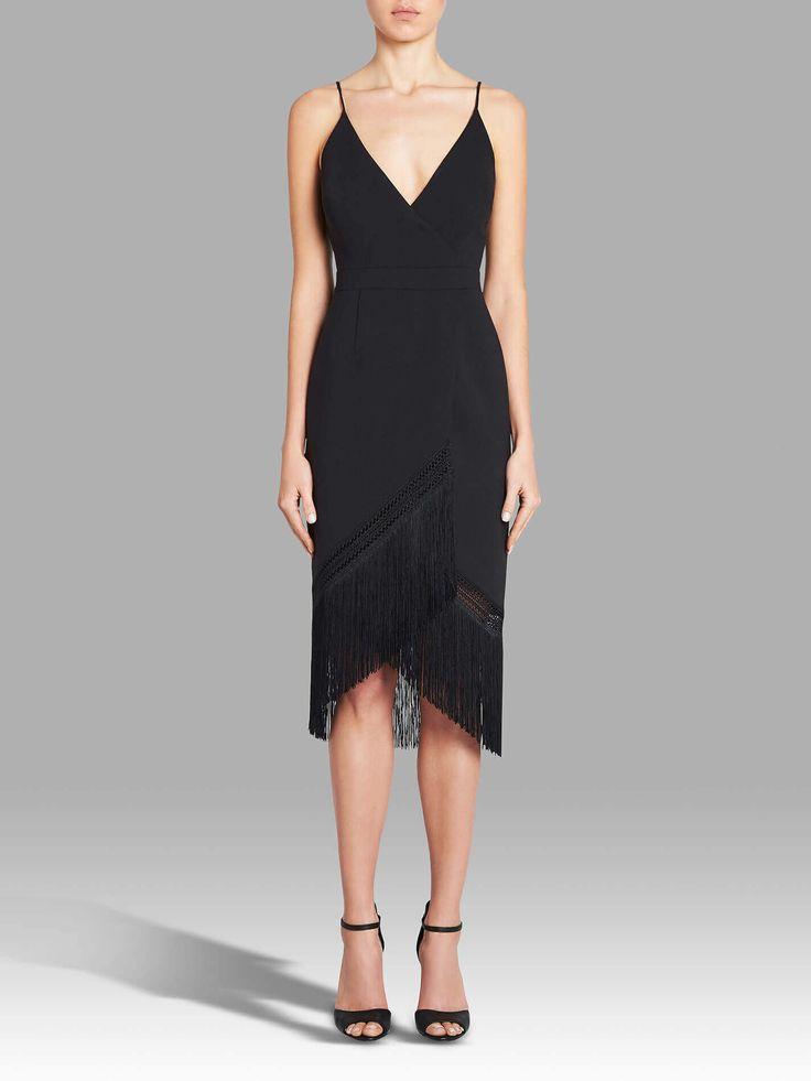 NICHOLAS - Fringe Crepe Wrap Cami Dress