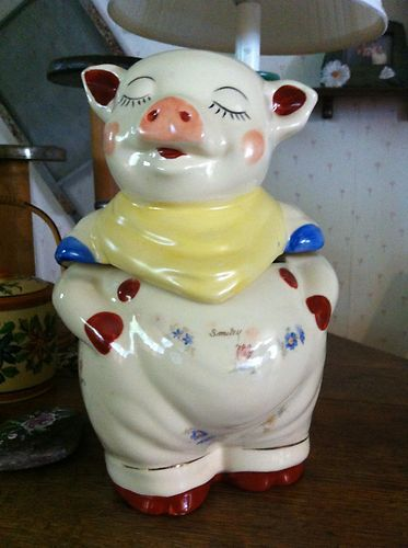 1940's Vintage Smiley Pig Cookie Jar with Gold Trim by Shawnee Pottery