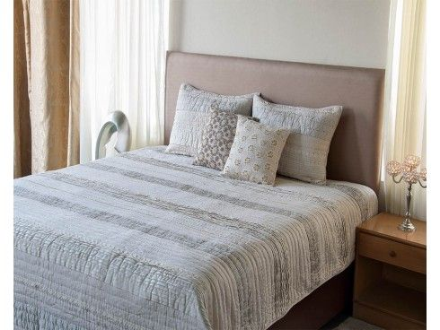 Pleated and Lace Embroidered Hand Quilted Natural bedspread