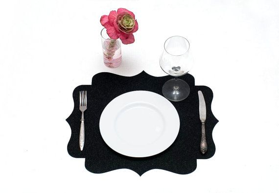 Elegant Table Mat / Set Felt Placemats / Black Placemats