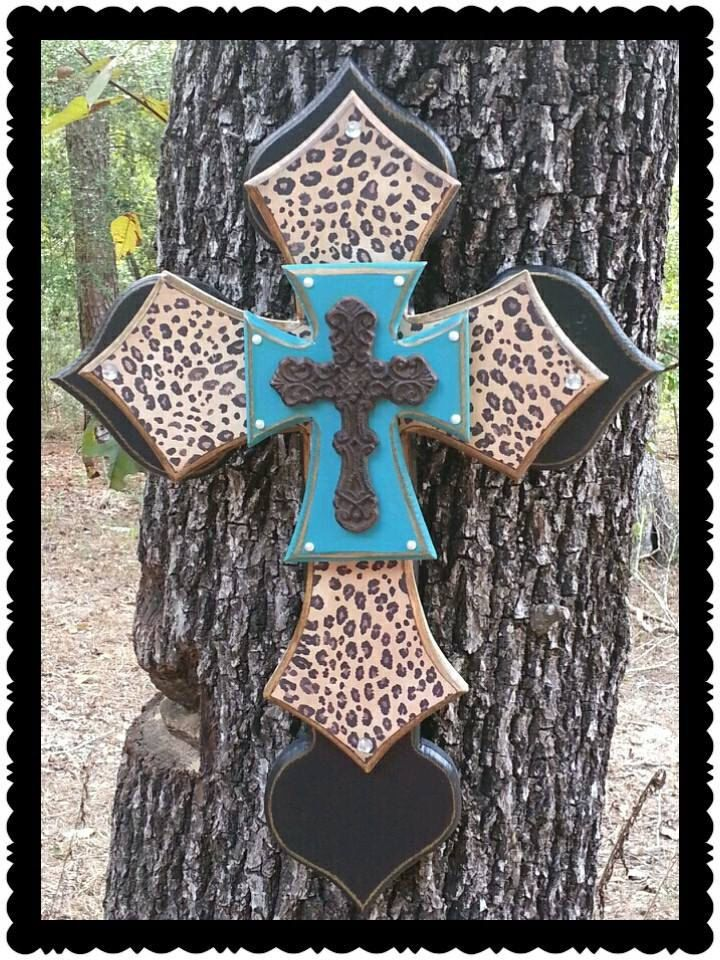 Love this!!! Leopard Cheetah Print Wall Cross Stack Wood by DreamLoudCreations, $55.00