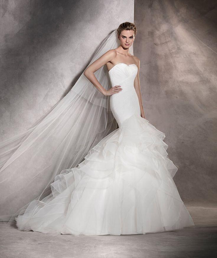 Asha - Robe de mariée sirène plissée avec jupe volumineuse en tulle