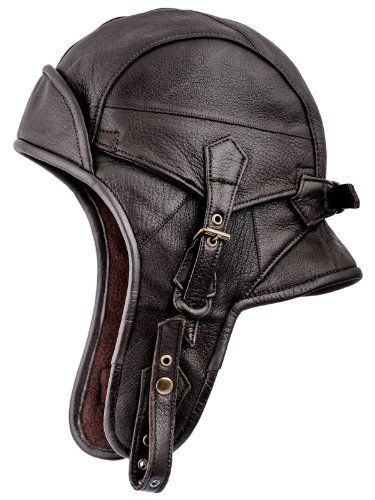 Awesome Sterkowski Genuine Leather Men's 8 Aviator Helmet Trapper Cap