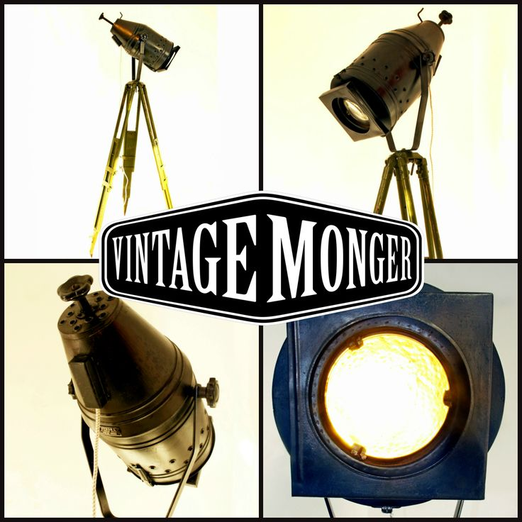 "Very rare pre-war Theatre spot on a vintage ""army green"" tri-pod Now on www.vintagemonger.nl   #interiordesign #industrialdesign #industrial #interieur #vintageindustrial, #industrialoffice, #midcenturymodern, #cafe, #office, #workplace #tripodlamp"