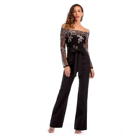 5e5927752a04a plus size rompers womens jumpsuit 2018 summer off shoulder black jumpsuit  pants long sleeve one piece jumpsuit with sequin 21788