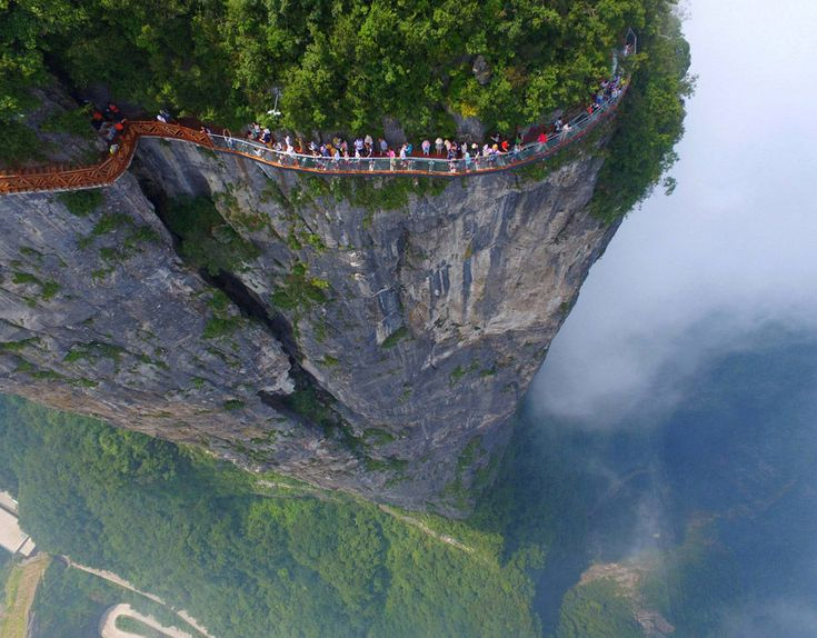 People walk on a sightseeing platform in Zhangjiajie, Hunan Province, China [REUTERS] .Scariest bridges in the world | Pictures | Pics | Daily Express