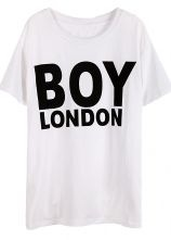 White Short Sleeve BOY LONDON Print T-Shirt #sheinside