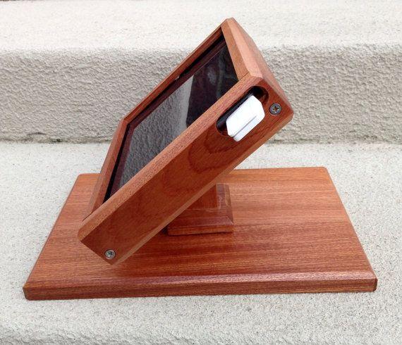 SALE!  99 Dollars!  New Slim Line Ipad AIR Swivel Stand for Point of Sale / iPad AIR Cash Register / Sapele Mahogany