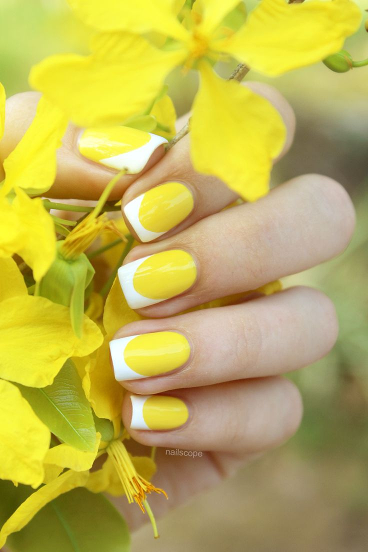Yellow French Nails. Tip: if you want to get perfect smile line for your French manicure, use Tip Guides. ;) (Affiliate)
