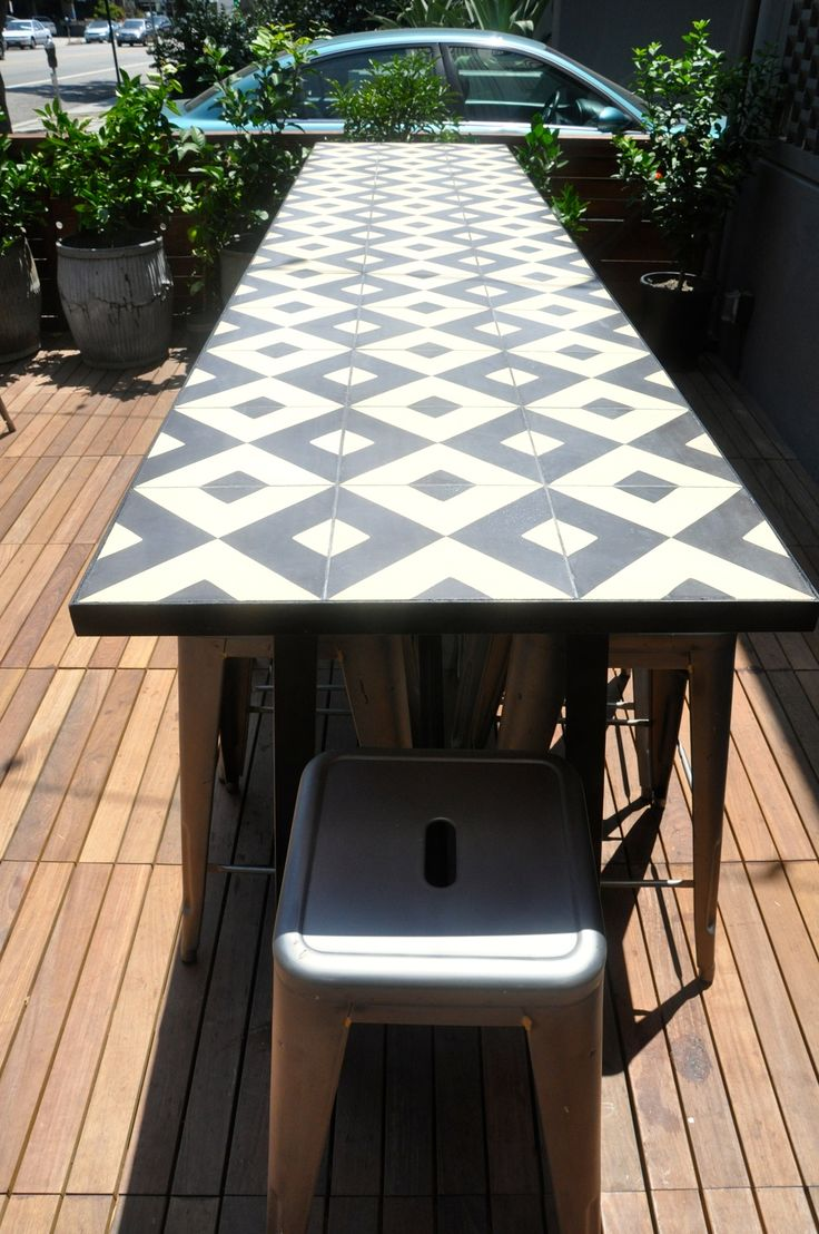 Outdoor table ideas - Table With Cement Tiles Love