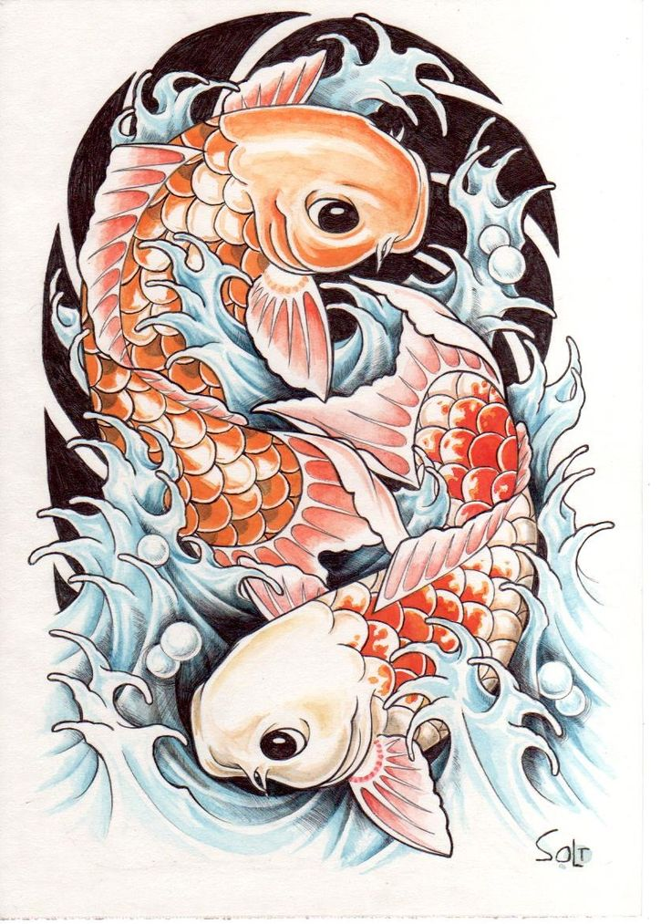 Ying yang coy tattoo designs for men back tattoo making for Japanese koi carp paintings