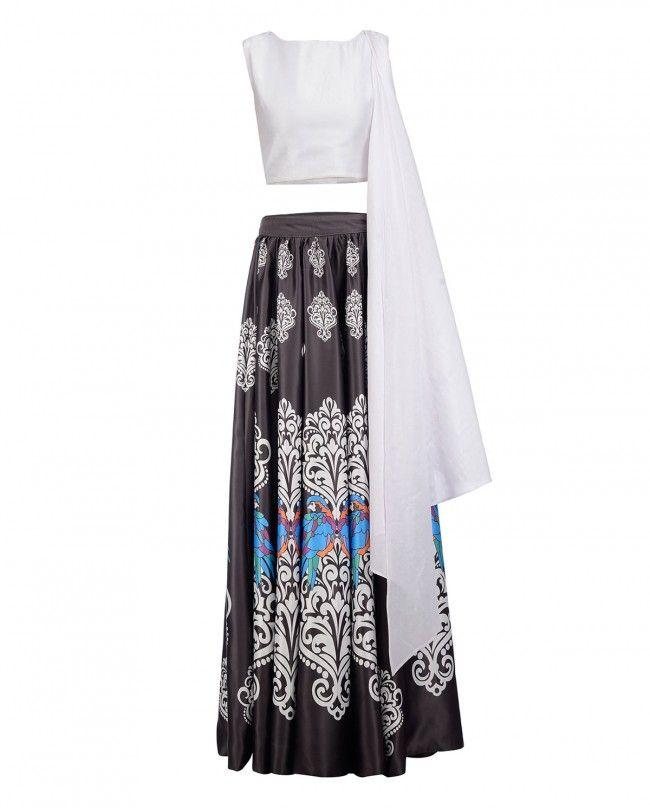 Printed Black Skirt with White Crop Top - Surendri By Yogesh Chaudhary