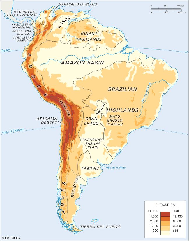 Physiographic regions of South America. | REF | GEO ...