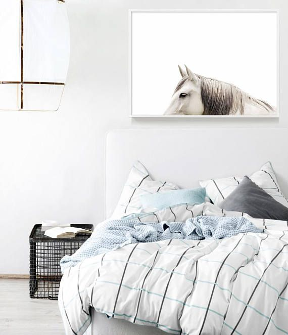 Beautiful Horse Photography Print | Bedroom Decor | Scandinavian Home | Horse Art | Master Bedroom Styling | Scandinavian Bedroom Ideas | Horse Print | Horse Lover Gifts | Scandinavian Decor | Artwork Above Bed by Little Ink Empire