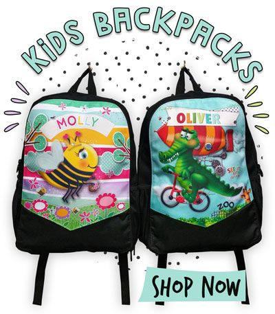 Looking for cute kids bags? Have your Mini Peeps carry all their goodies in one of our awesome Personalised Kids Backpacks. Great bags for all ages, Our colourful range of kids Personalised Backpacks and Children's bags are perfect for School, Kindy, traveling, everyday use and for any child always on the go. Made from a super durable black canvas to withstand rough use (we made them this way because it hides the dirt) with a printed fabric front panel, they are super durable, easy to clean…