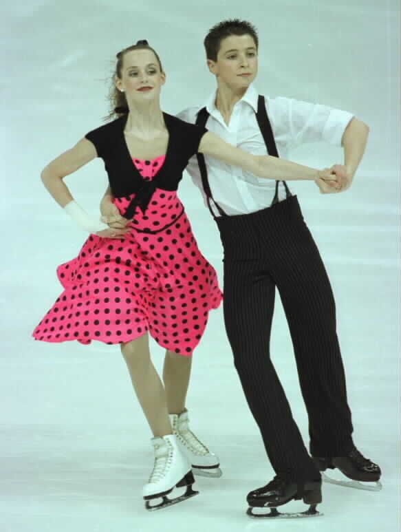Tessa Virtue and Scott Moir practising their original dance at the 2004 Junior Canadian Nationals. Their music was Tears On My Pillow and Tutti Frutti.