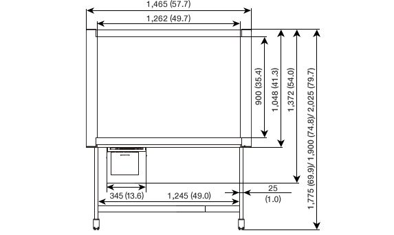 Dimensions | UB-5865 / 5365 | Electronic Whiteboard | Office Products | Products & Solutions | Panasonic Global
