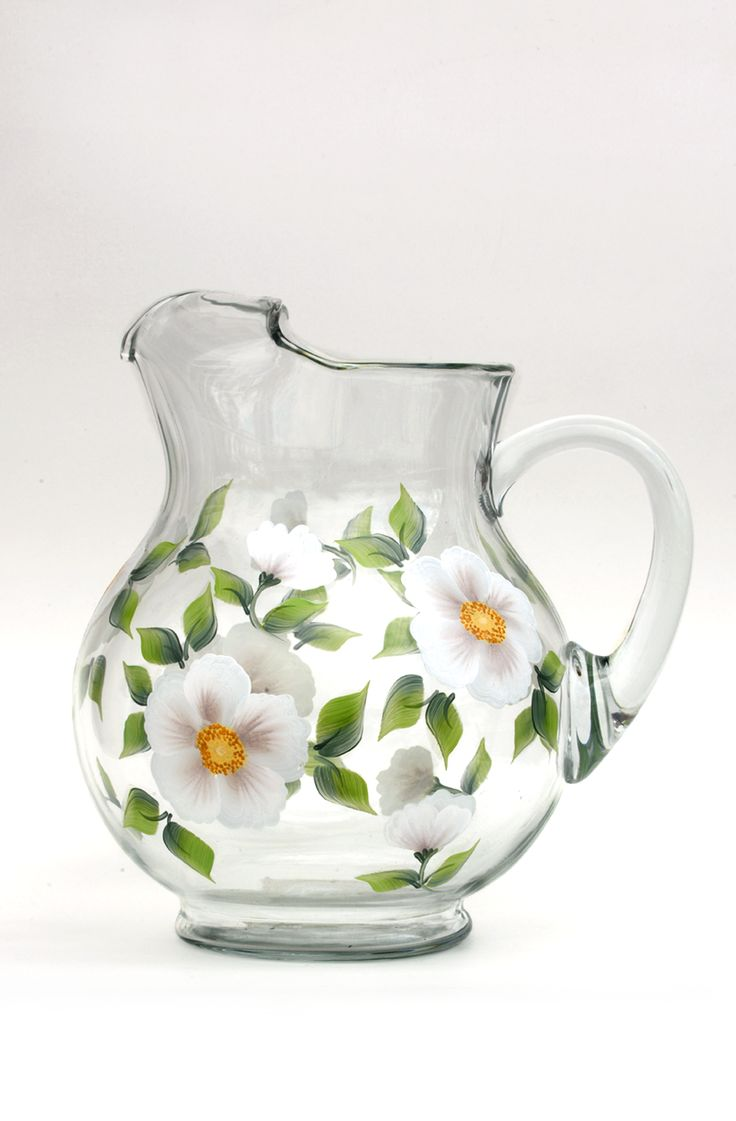 White beach rose petals with yellow centers and deep green leaves hand-painted encircling quality belly-shaped pitcher. Also available in a 5 or 7 piece hostess set with footed goblets. Sealed and hea
