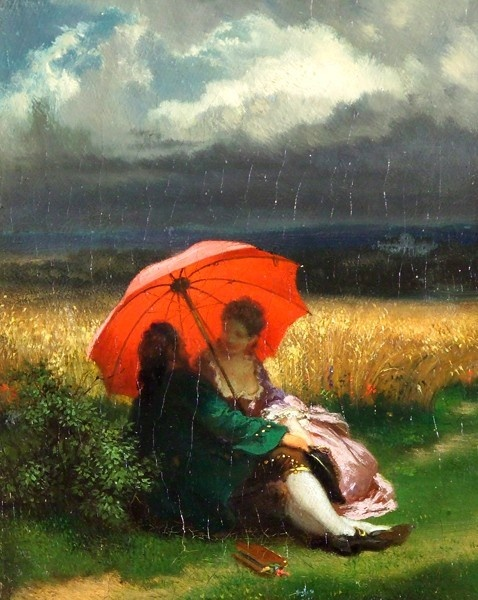 A red parasol in the summertime- Josef Manes 1855