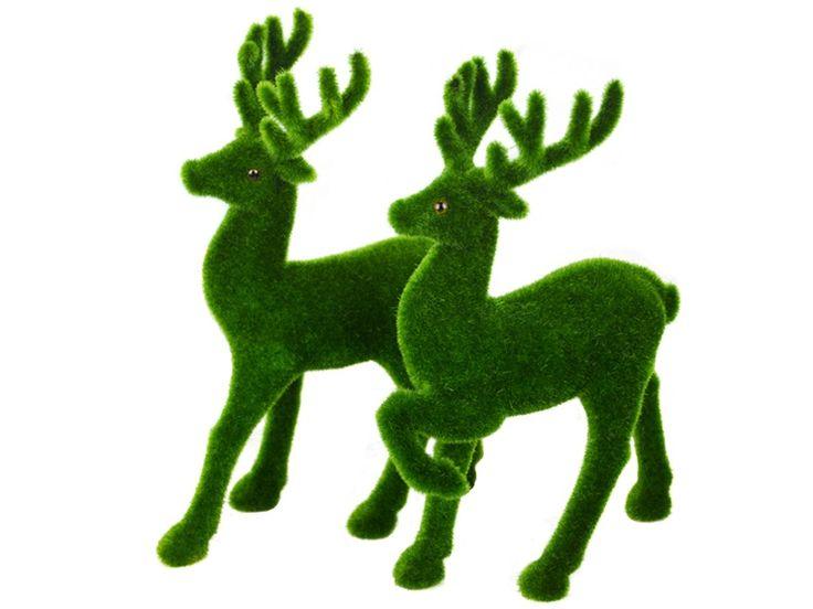 B0435 - Male & Female Christmas Reindeer Artificial Grass Animal Statue - 2 - B0435 - Male & Female Christmas Reindeer Artificial Grass Animal Statue - 2.jpg