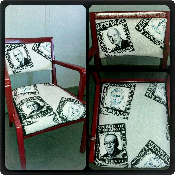 Communicating past to present. Oil painting and embroidering on silkscreen printed material on restored chair done by JC Bölke (BOLKE ART)
