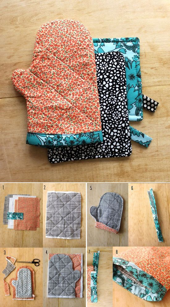 Sew an oven mitt out of fabric scraps.