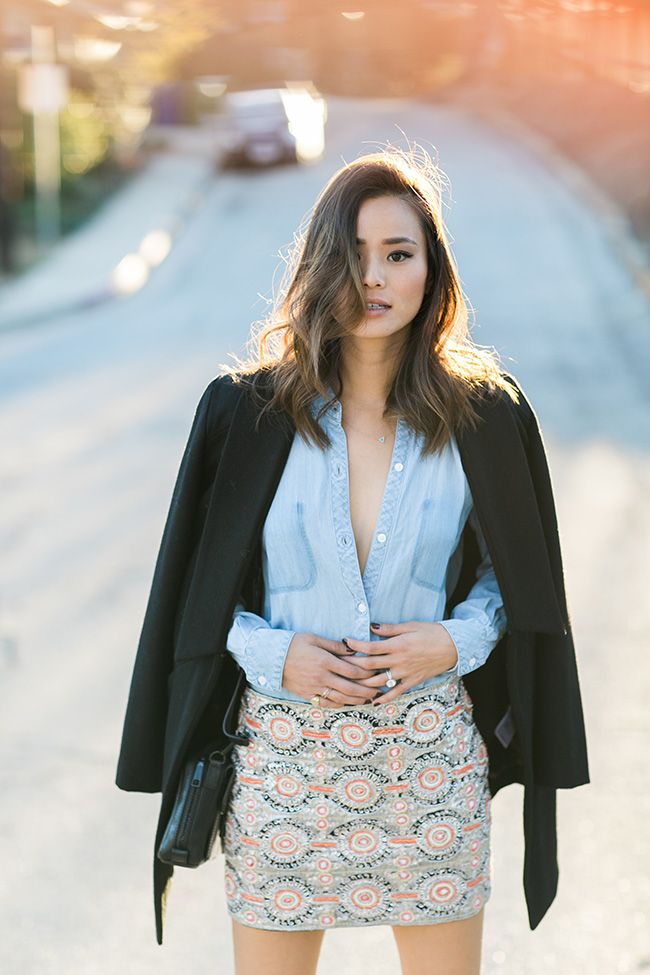 patterned pencil skirt, chambray shirt and black blazer