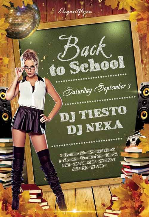 Back To School Club Party Free Flyer PSD Template - Free Flyer Templates & PSD Club Flyer Design - Download Free PSD Flyer at FreePSDFlyer