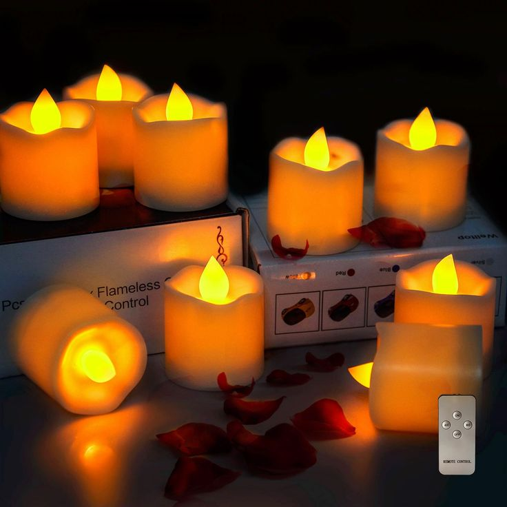 Intsun Set of 9 Pcs Flameless Candles with Remote Control, Battery Operated Real Wax & Real Flickering LED Tea Light Candles with Timer, Amber Yellow Light for Wedding, Birthday, Party, Christmas