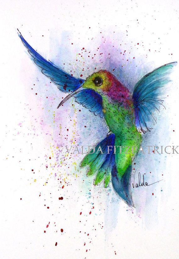 Humming Bird Landing. Print from original watercolor   gift