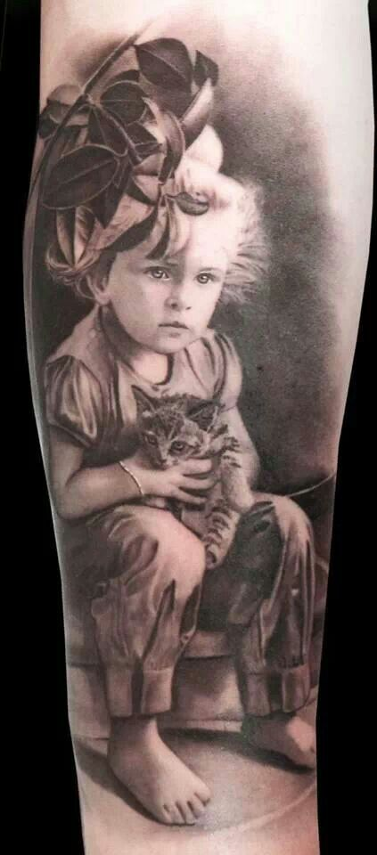 Monochrome Baby Portrait Tattoo