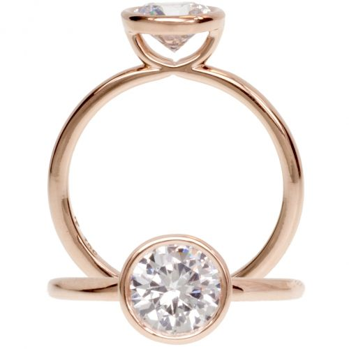 "Mark Patterson Engagement Rings | Rose gold bezel semi-mounting  From the ""Promise"" collection, a lovely 18-karat rose gold solitaire semi-mounting with a simple and elegant bezel setting. This delicate mounting awaits a round gemstone."