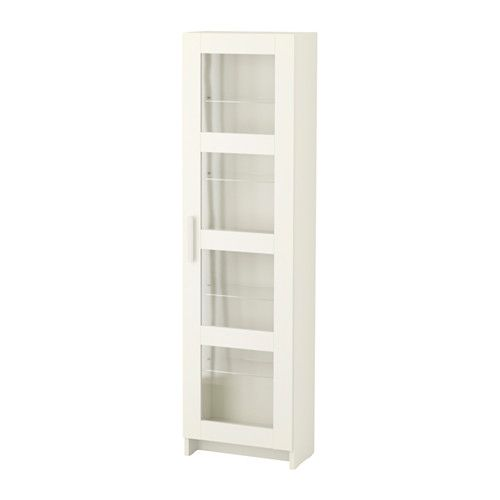 IKEA - BRIMNES, Glass door cabinet, white, , With a glass-door cabinet, you can show off as well as protect your glassware or your favorite collection.Adjustable shelves, so you can customize your storage as needed.
