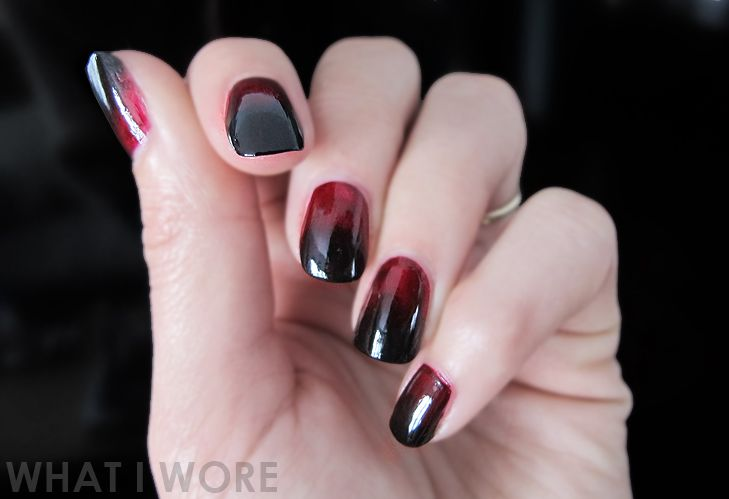 Ombre Manicure, Vampy Manicure, Jessica Quirk, whatiwore.tumblr.com