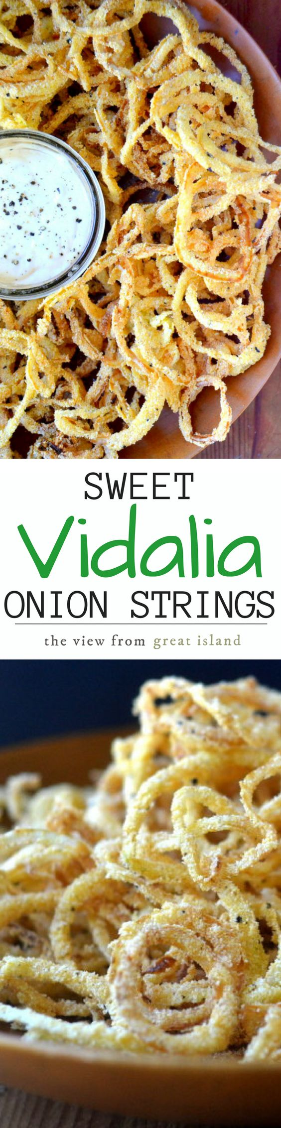 Vidalia Onion Strings with Horseradish Aioli might just be the world's most perfect appetizer, these thin sweet onions rings are fried to perfection in minutes!   sweet onions   onion rings   easy appetizer   game night  