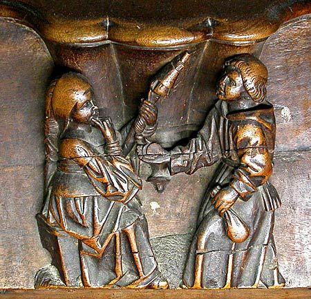 Medieval erotica wood carvings