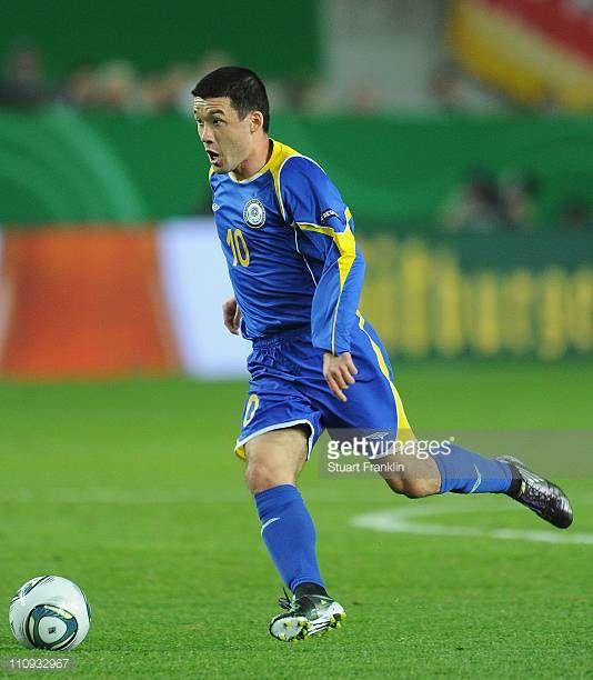 Nurbol Zhumaskaliyev of Kazakhstan during the EURO 2012 Group A qualifier match between Germany and Kazakhstan at FritzWalterStadium on March 26 2011...