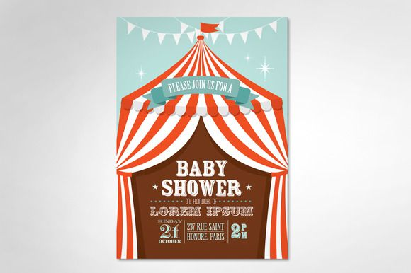 circus tent baby shower template by lyeyee on Creative Market