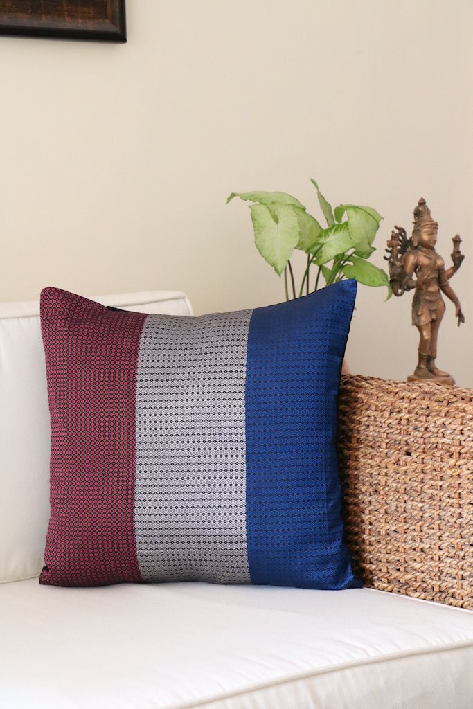 The quintessential Maharashtrian 'Khunn' blouse fabric gets a cushion cover transformation at Omnah! Browse and buy from our latest collection at Jaypore.com