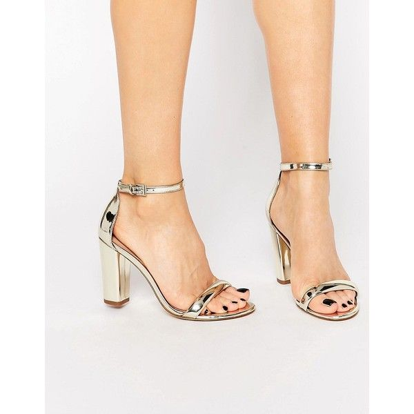 ALDO Cicci Gold Block Mid Heel Sandals ($88) ❤ liked on Polyvore featuring shoes, sandals, gold, open toe sandals, aldo shoes, block-heel sandals, gold heel sandals and gold metallic sandals