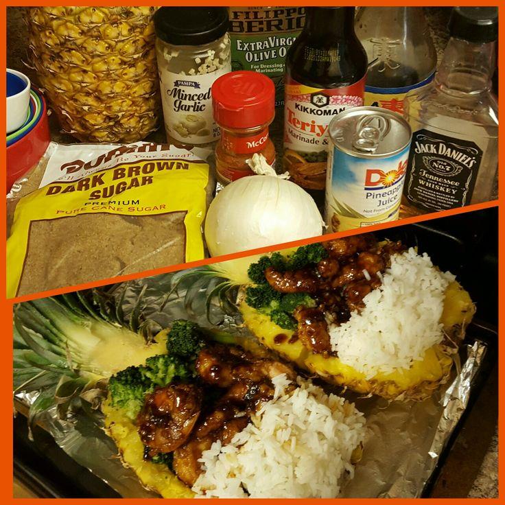 Pineapple Bowls Chicken Shrimp Recipe