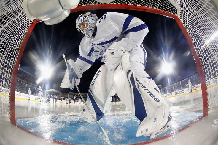 Goaltender Frederik Andersen #31 of the Toronto Maple Leafs cleans the ice during the 2018 Coors Light NHL Stadium Series game against the Washington Capitals at the Navy-Marine Corps Memorial Stadium on March 3, 2018 in Annapolis, Maryland.