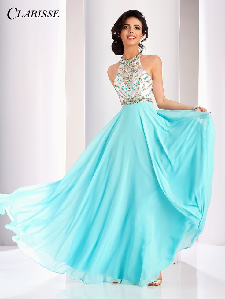Clarisse 2017 prom dress style 3069. Unique vintage pastel prom dress with a long flowy skirt and beaded lace details on the bodice | Promgirl.net
