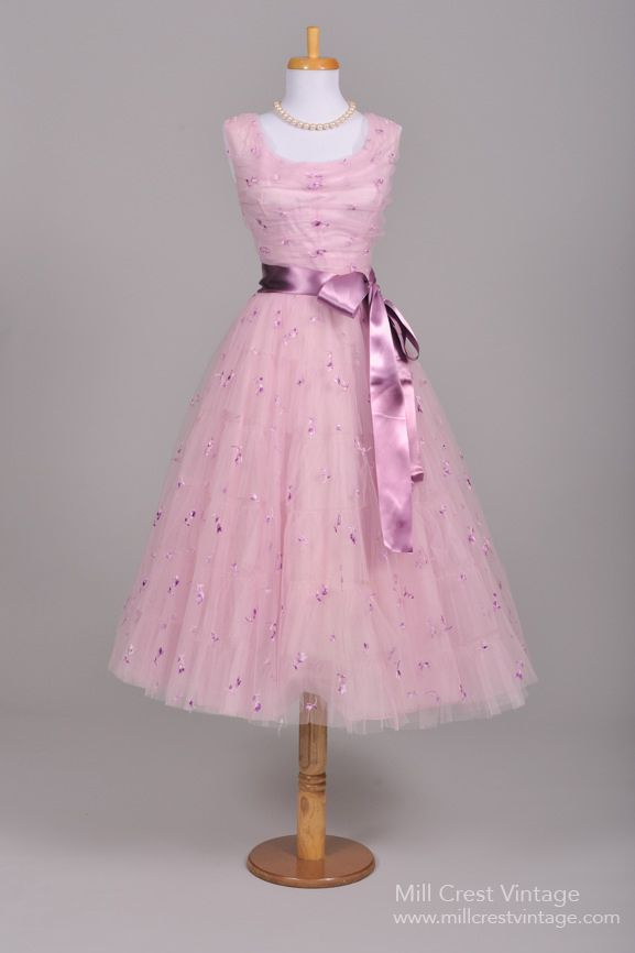 Silk Embroidered Lilac Vintage Dress 1950's  #gown #fashion