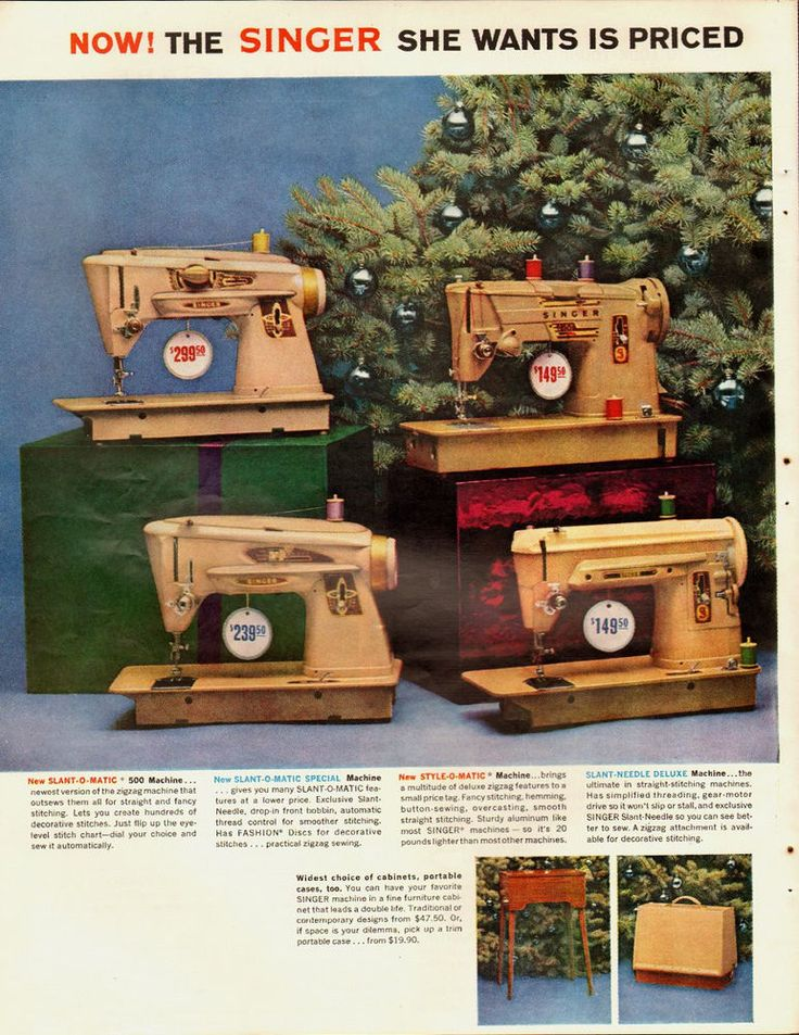 1961 Vintage ad for Singer Sewing Centers~Sewing Machine Models~Christmas. That's $1173 to $2346 in 2014 dollars.