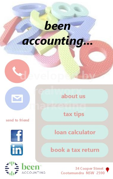 Been Accounting iCard design developed by Realworx Marketing Mobile Apps Australia New Zealand USA UK